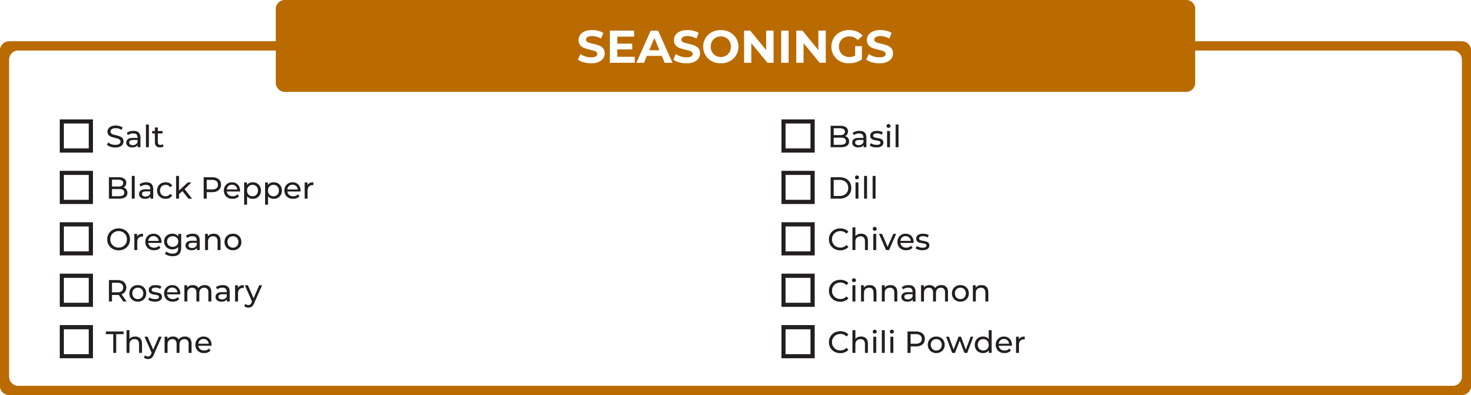 No carb foods: Seasonings