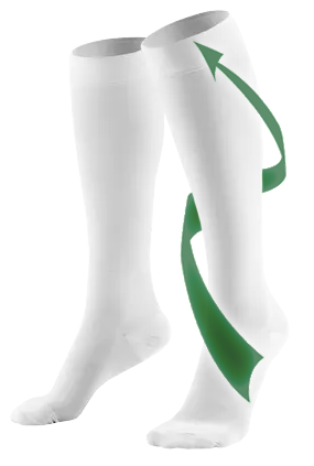 Knee High Closed Toe Anti-Embolism Stockings With Arrow Travelling Up Leg