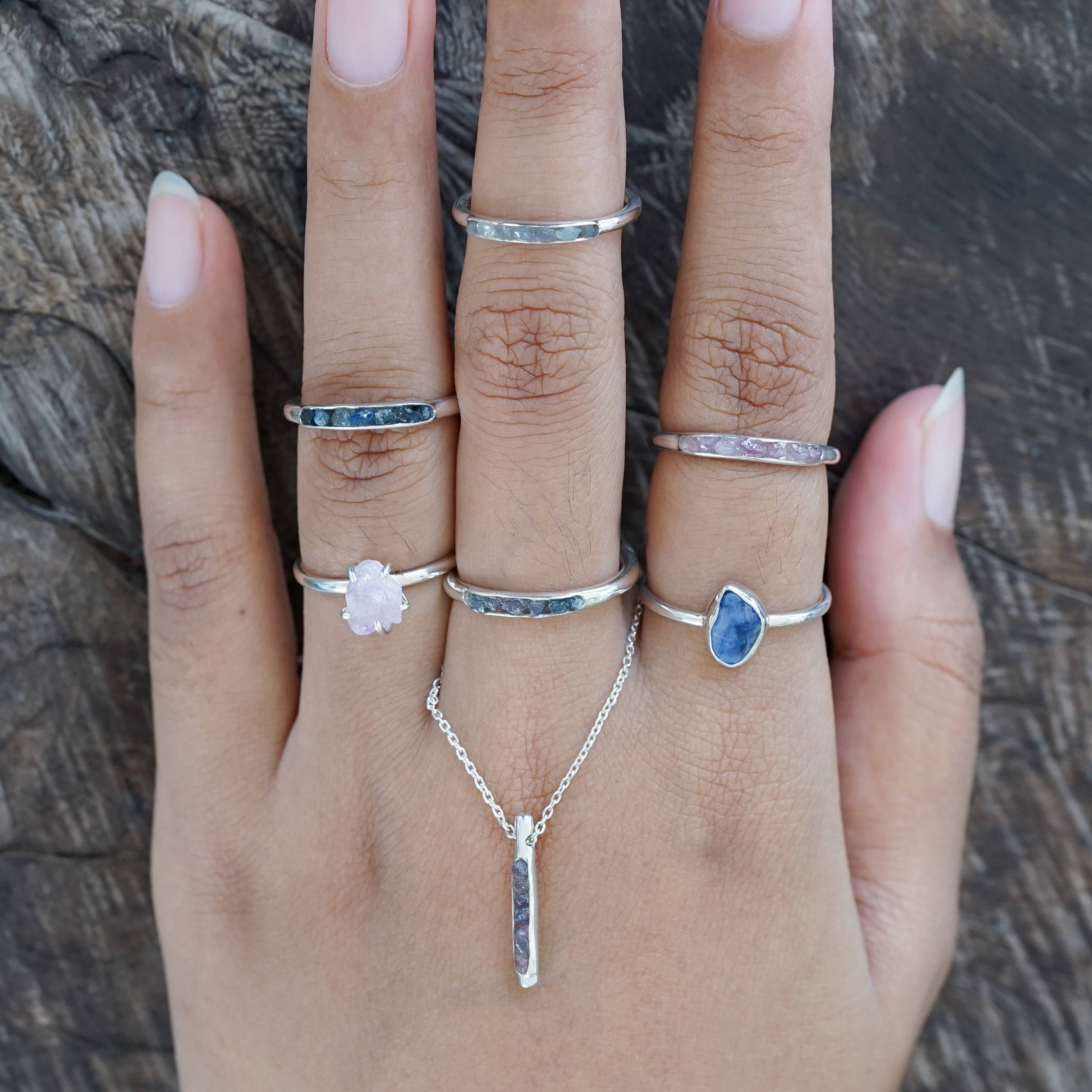 Borneo Gems collection rings and necklace in silver