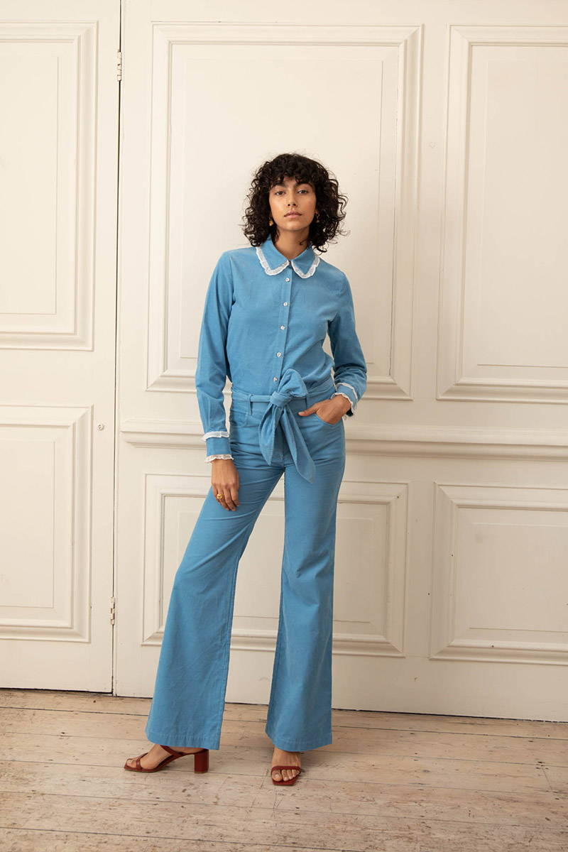 Model wearing blue corduroy shirt with matching trousers YOLKE