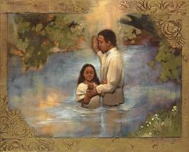 LDS art painting of a young girl getting baptized in a lake.