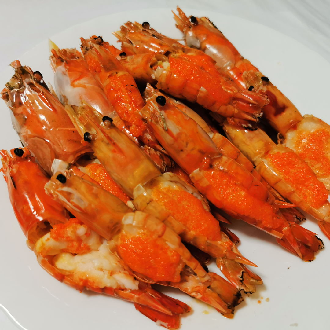 Mentaiko Oven Baked Prawns