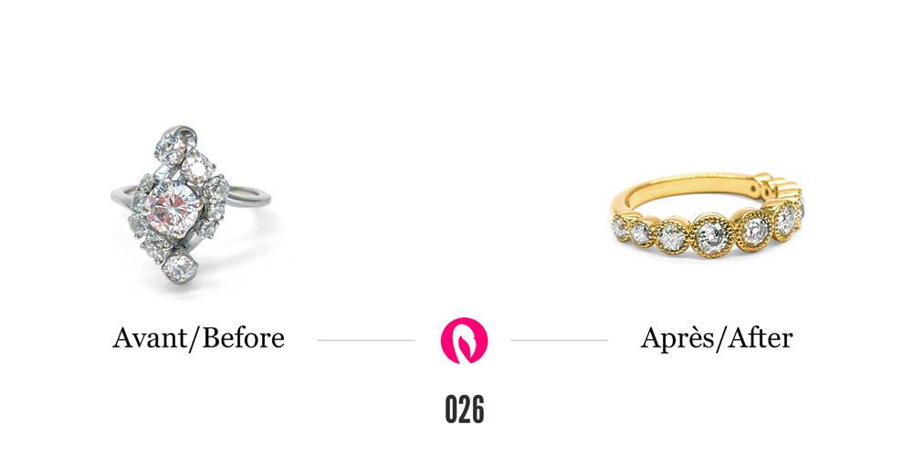 Bague en or blanc à forme irrégulière sertie de diamants transformée en une bague plus classique en or jaune avec 10 diamants sertis clos tout autour du corps de bague.