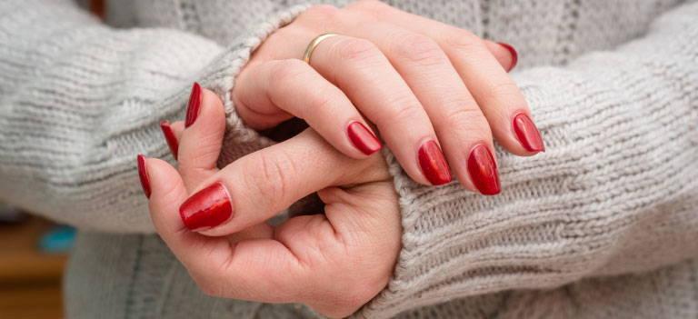 Skin, Nail polish, Nail care, Finger, Gesture, Nail, Thumb, Pink, Manicure, Material property