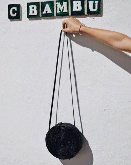 Сумка из ротанга  ручной работы (round bag) цвет - черный