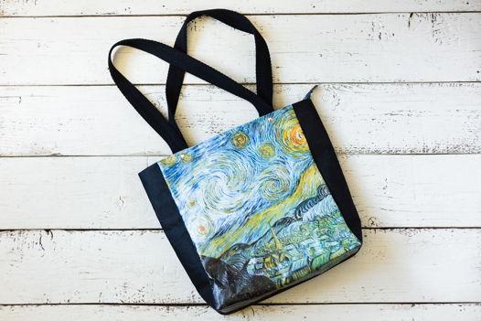 """Эко-сумка из моющегося крафта """"Ван Гог. Звездная ночь"""""""