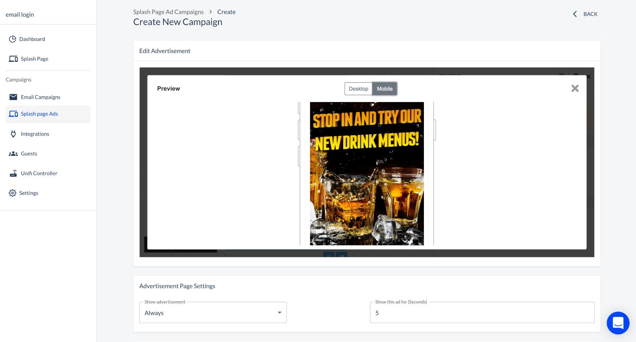 Splashpage campaigns