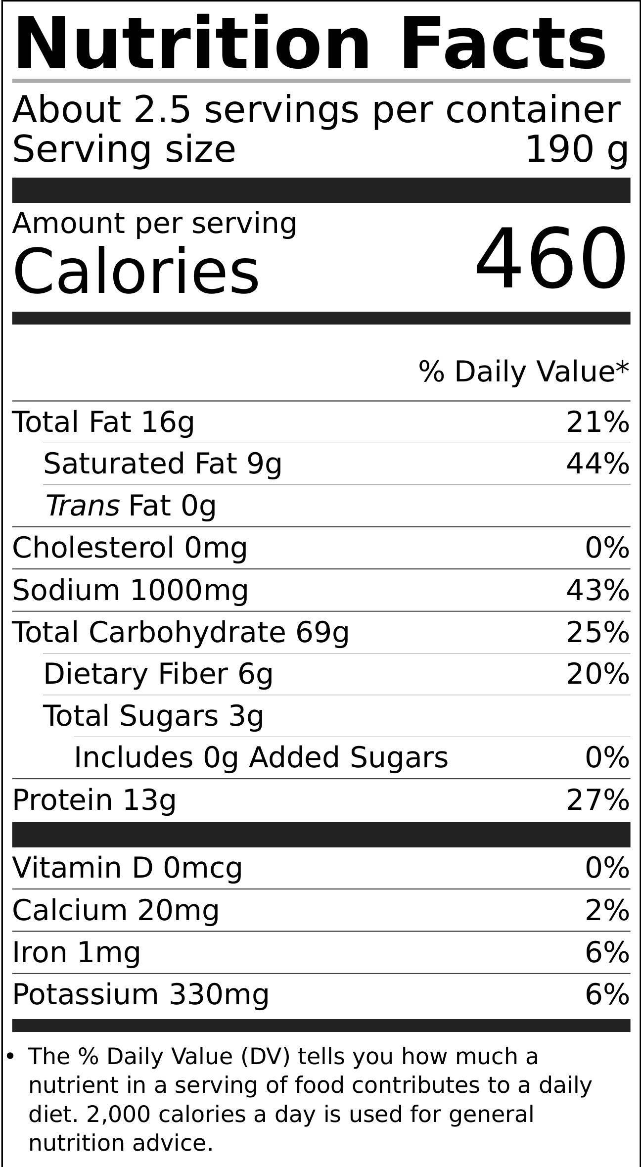 Nutrition Facts - Pizza Bien