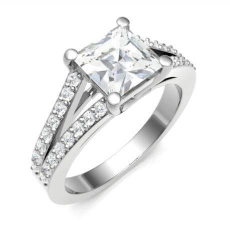 Split shoulder princess cut bespoke diamond rng - Pobjoy Diamonds