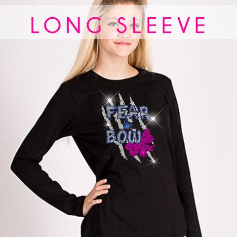 glitterstarz long sleeve bling basics black tee rhinestone teamwear cheer dance