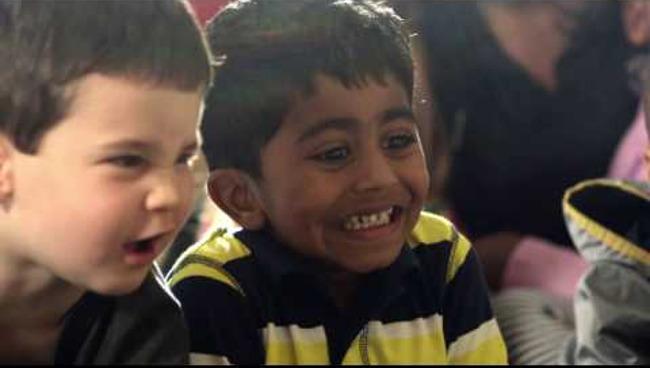 Two children learning in a preschool classroom at Primrose School,  a premiere preschool and daycare