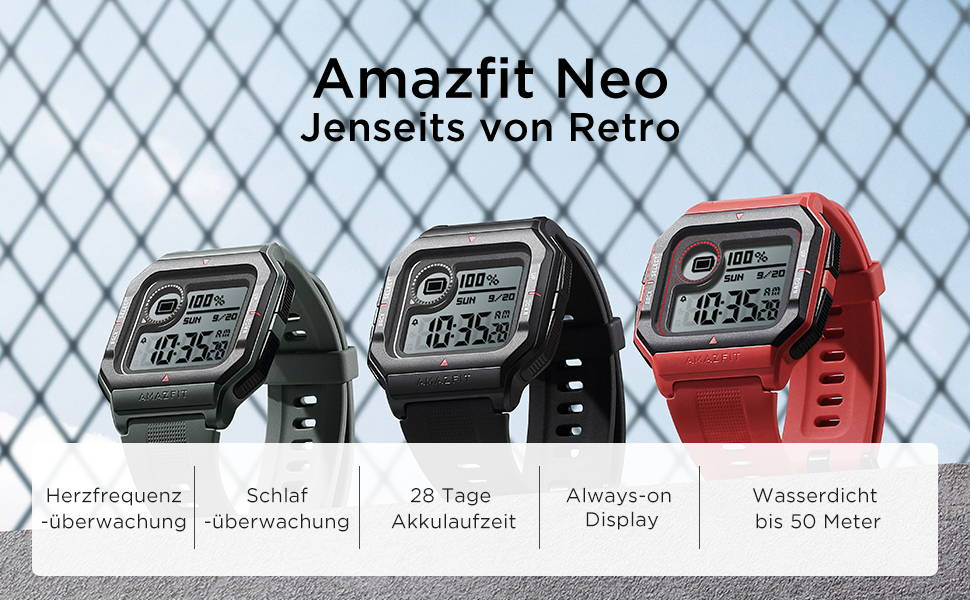 Amazfit Neo - Mehr als nur Retro  Herzfrequenzmessung | Schlafmonitor | Akkulaufzeit bis zu 28 Tagen1 Always-On Display | bis 50 Meter2 wasserdicht