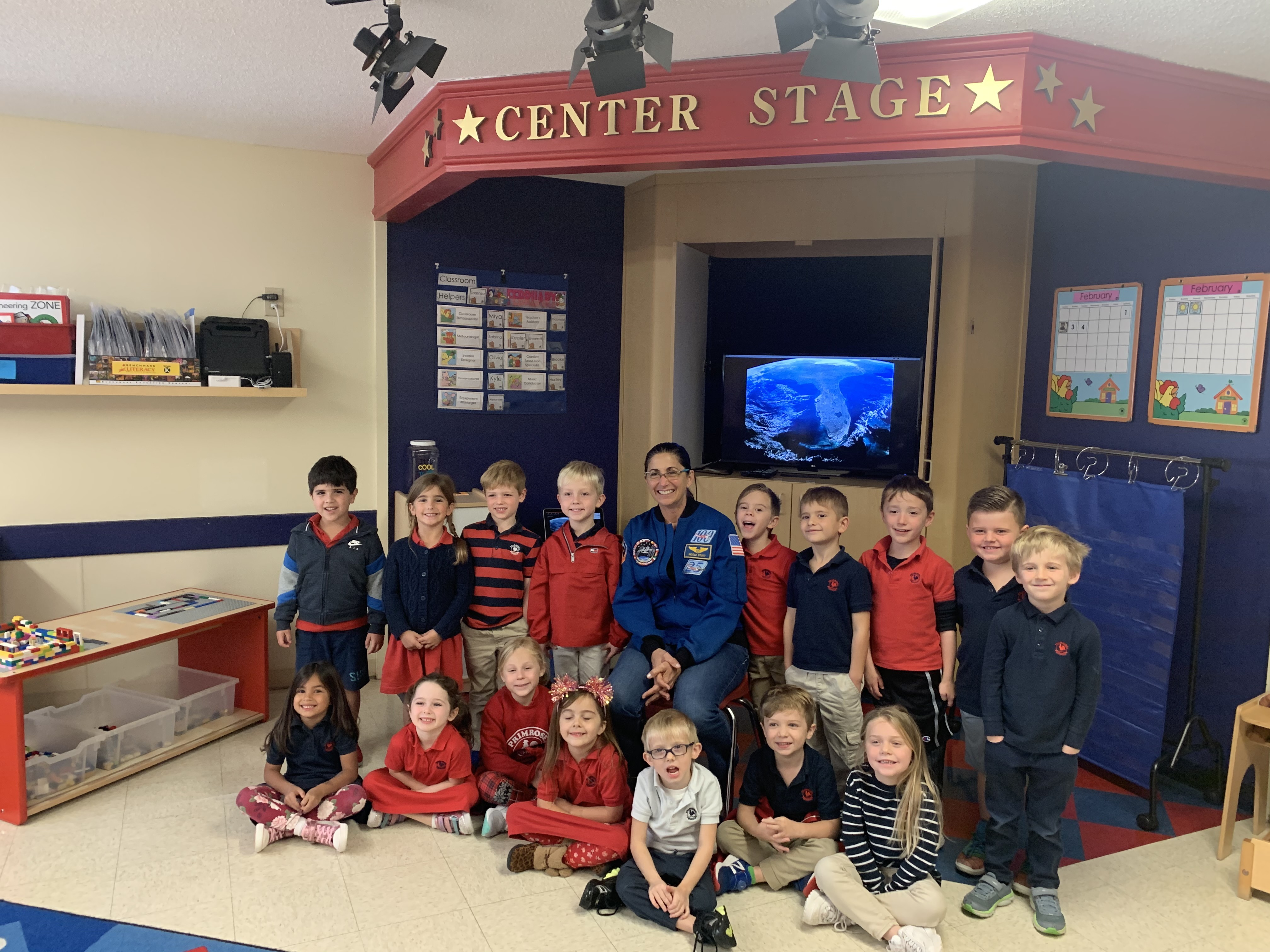 Astronaut Nicole Stott with the Private Kindergarten students