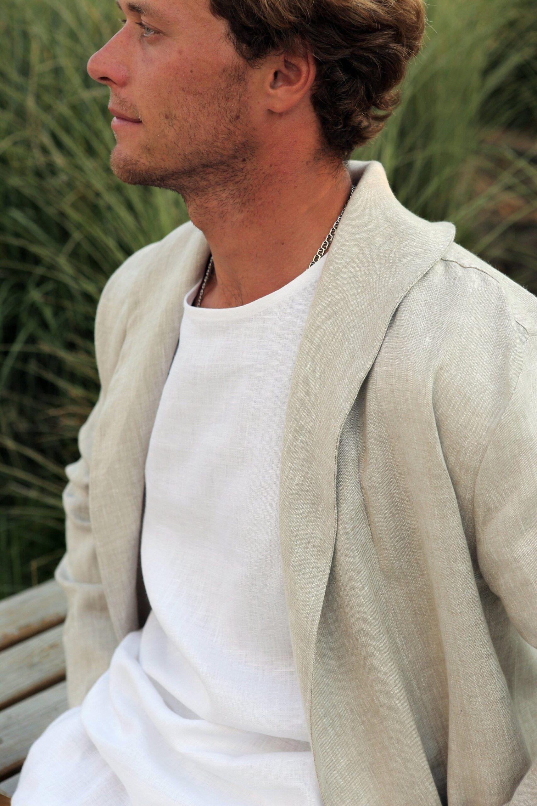 men's linen cardigan