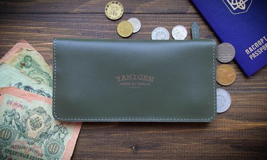 Портмоне, бумажник, натуральная кожа, 100 % ручная работа