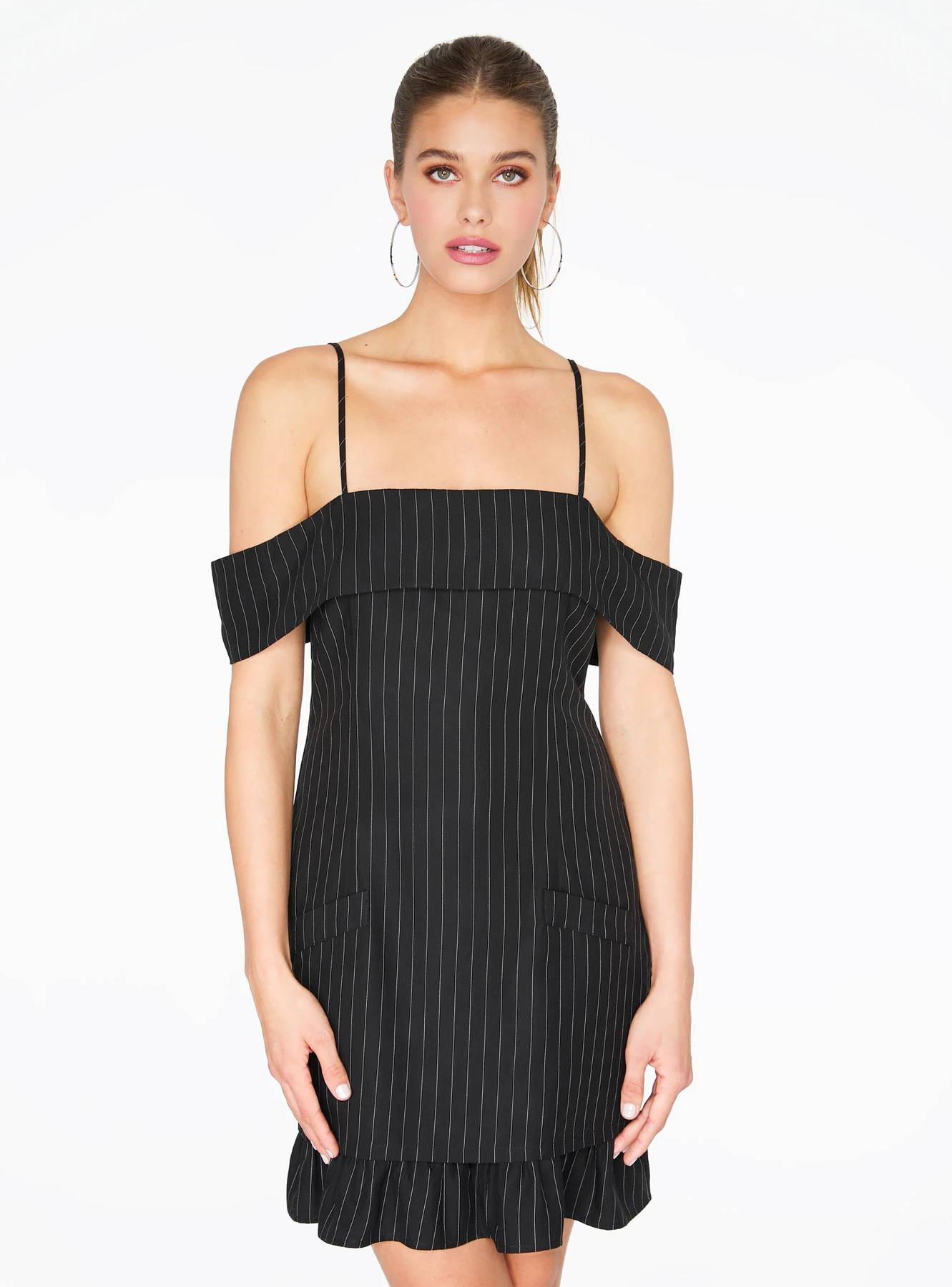Striped Off the Shoulder Dress in Black