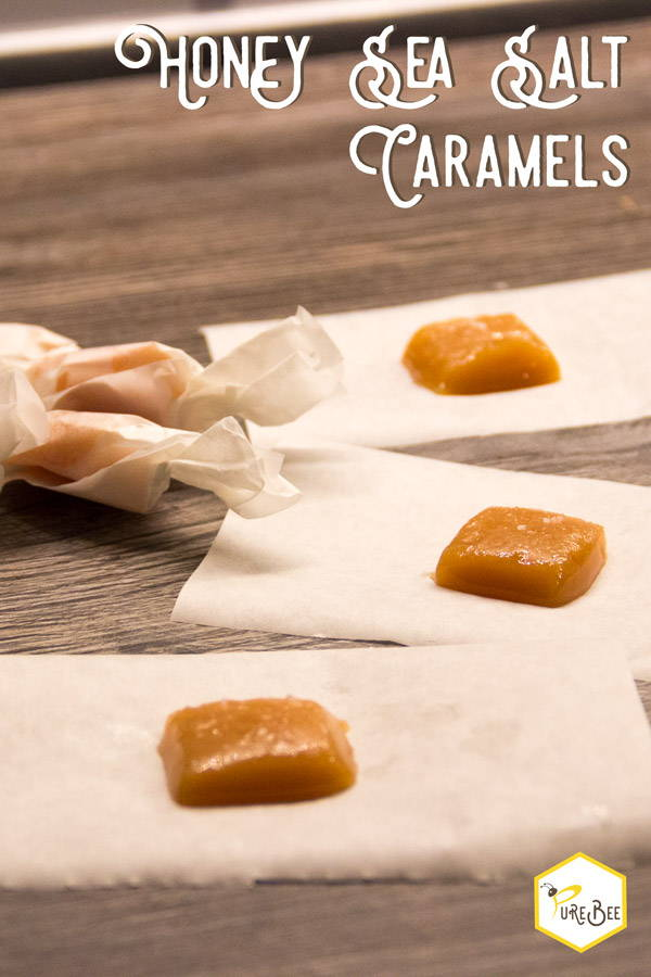 Honey Sea Salt Caramels cut on parchment paper