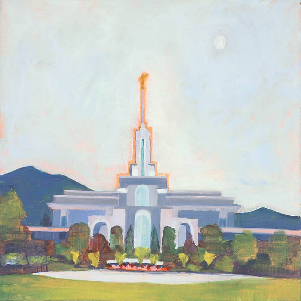 LDS art painting of the Mount Timpanogos Temple against the mountains.