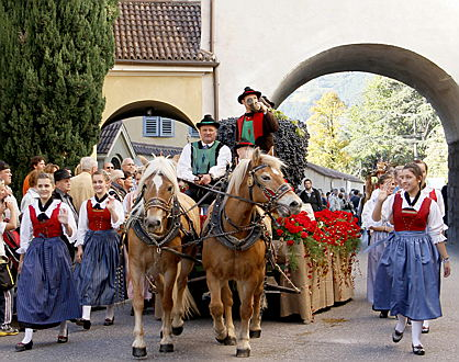 Merano - One of the various decorated floats during the Sunday parade at the Merano Grape Festival