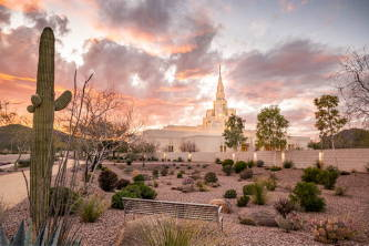 Photo of the Phoenix Arizona Temple surrounded by cacti and desert landscape.