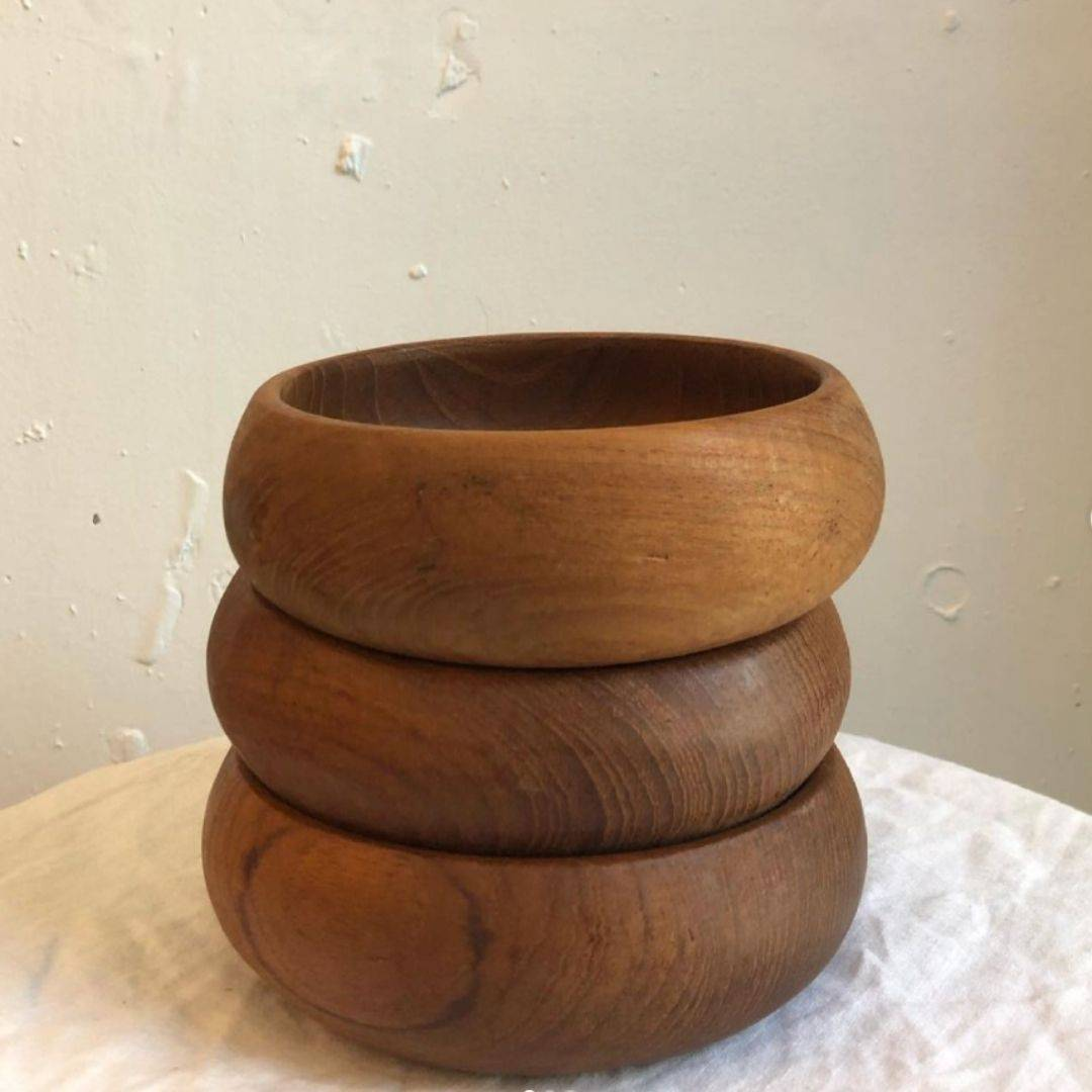 curated consignment wooden salad bowls