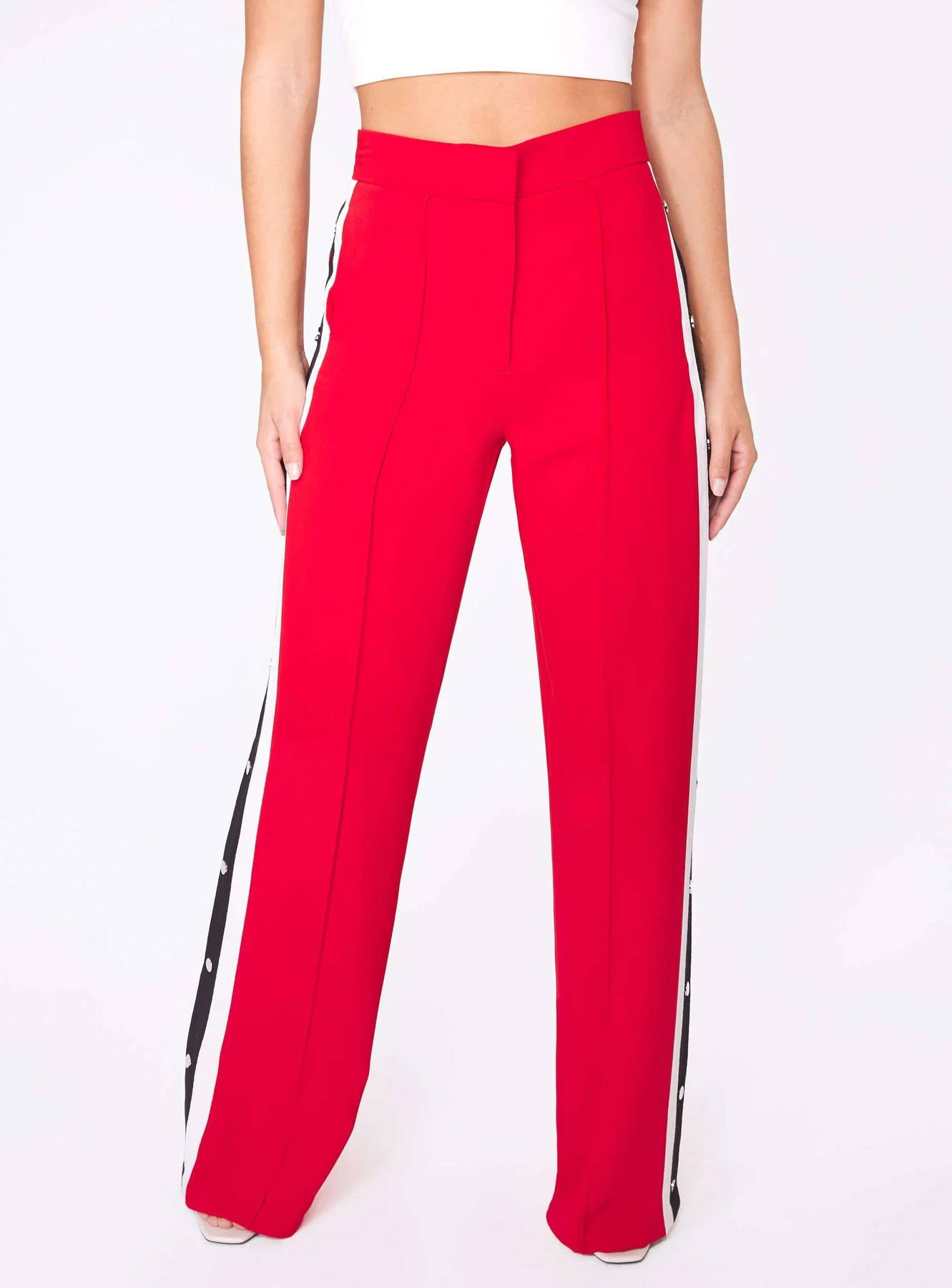 Red High-Waisted Relaxed Side Snap Trousers