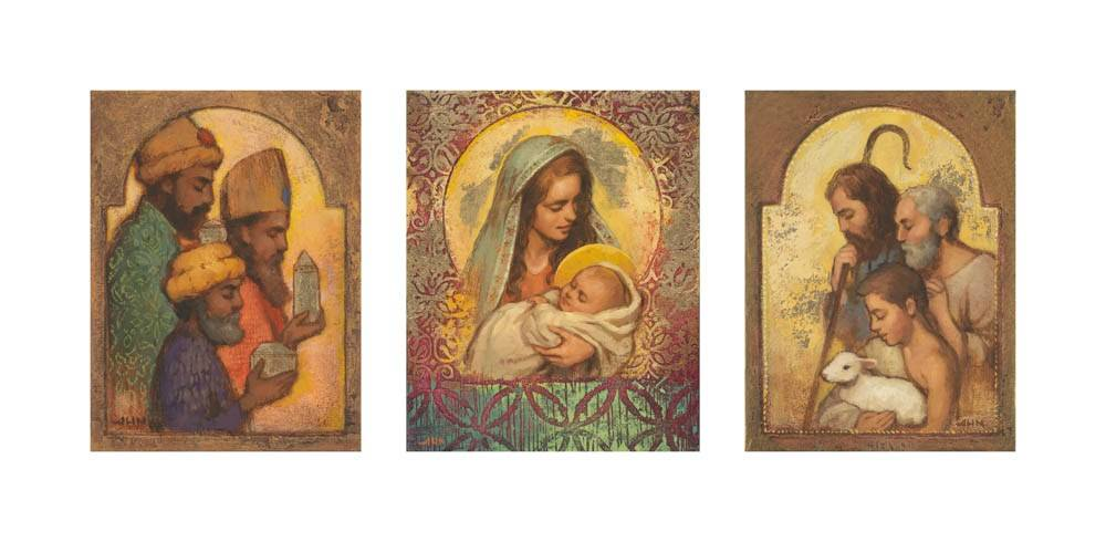 Trio of LDS art paintings depicting the nativity in sections.