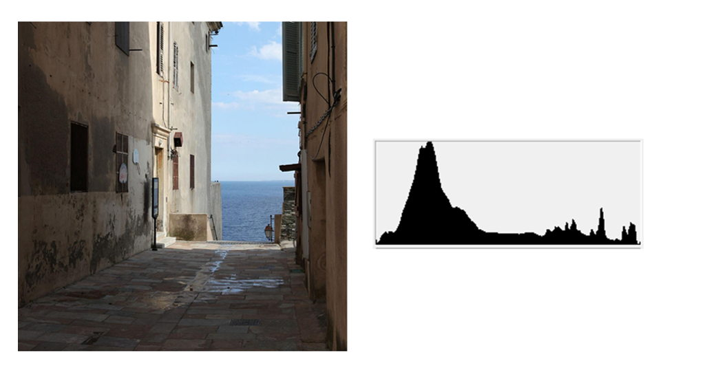 Image histogram of a photo containing dark areas