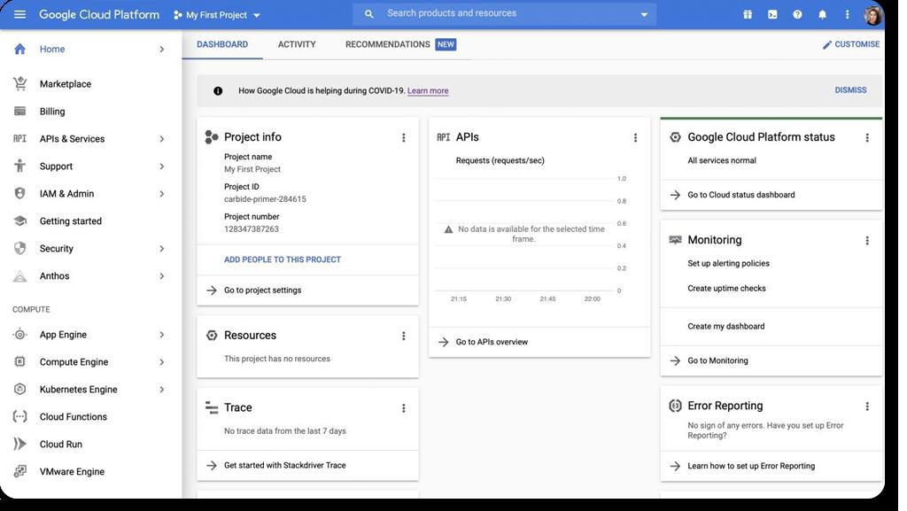 Google Cloud Platform web interface