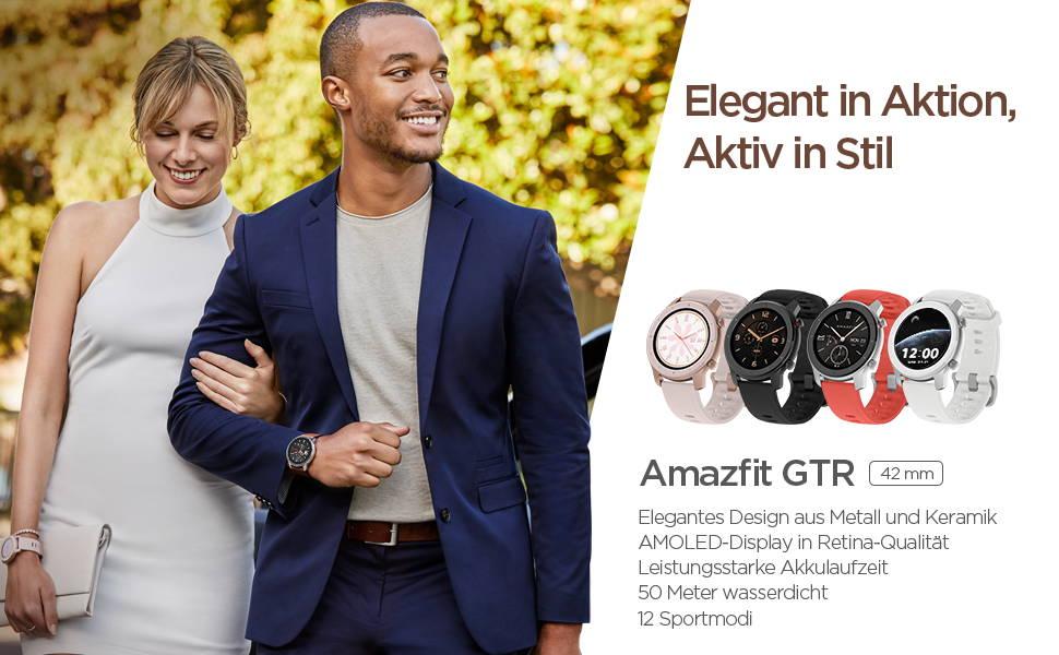 Amazfit GTR 42mm - Elegant in Aktion, Aktiv in Stil | Elegantes Design aus Metall und Keramik | AMOLED-Display in Retina-Qualität  Leistungsstarke Akkulaufzeit | 50 Meter wasserdicht | 12 Sportmodi