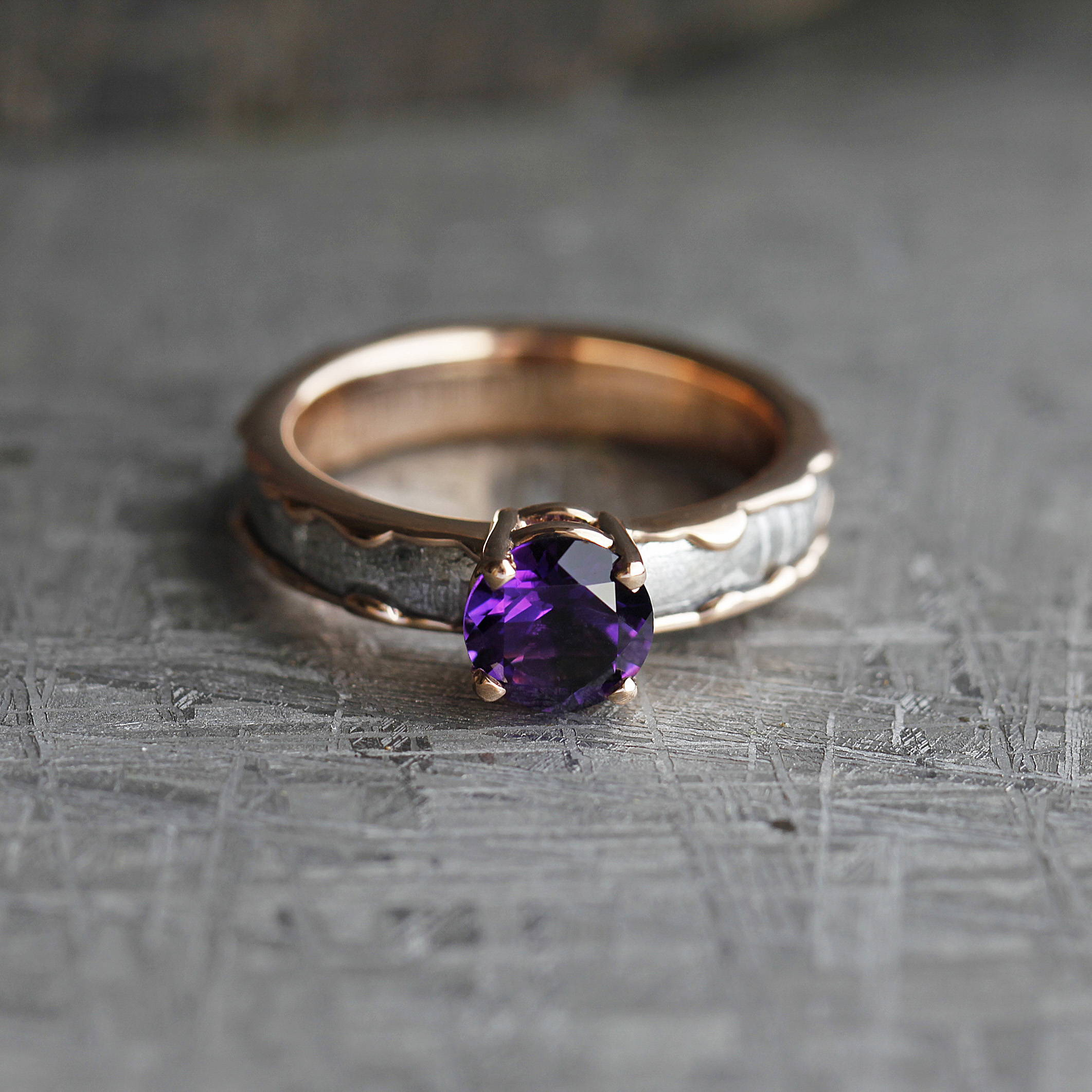 AMETHYST ENGAGEMENT RING, METEORITE IN WAVY ROSE GOLD RING