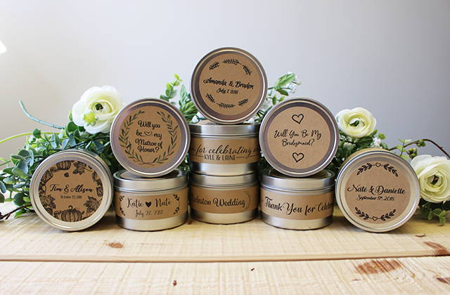 Custom label tin candles for weddings in basket