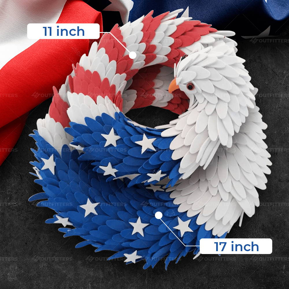red white and blue eagle wreath, patriotic eagle wreath, patriotic eagle door wreath,