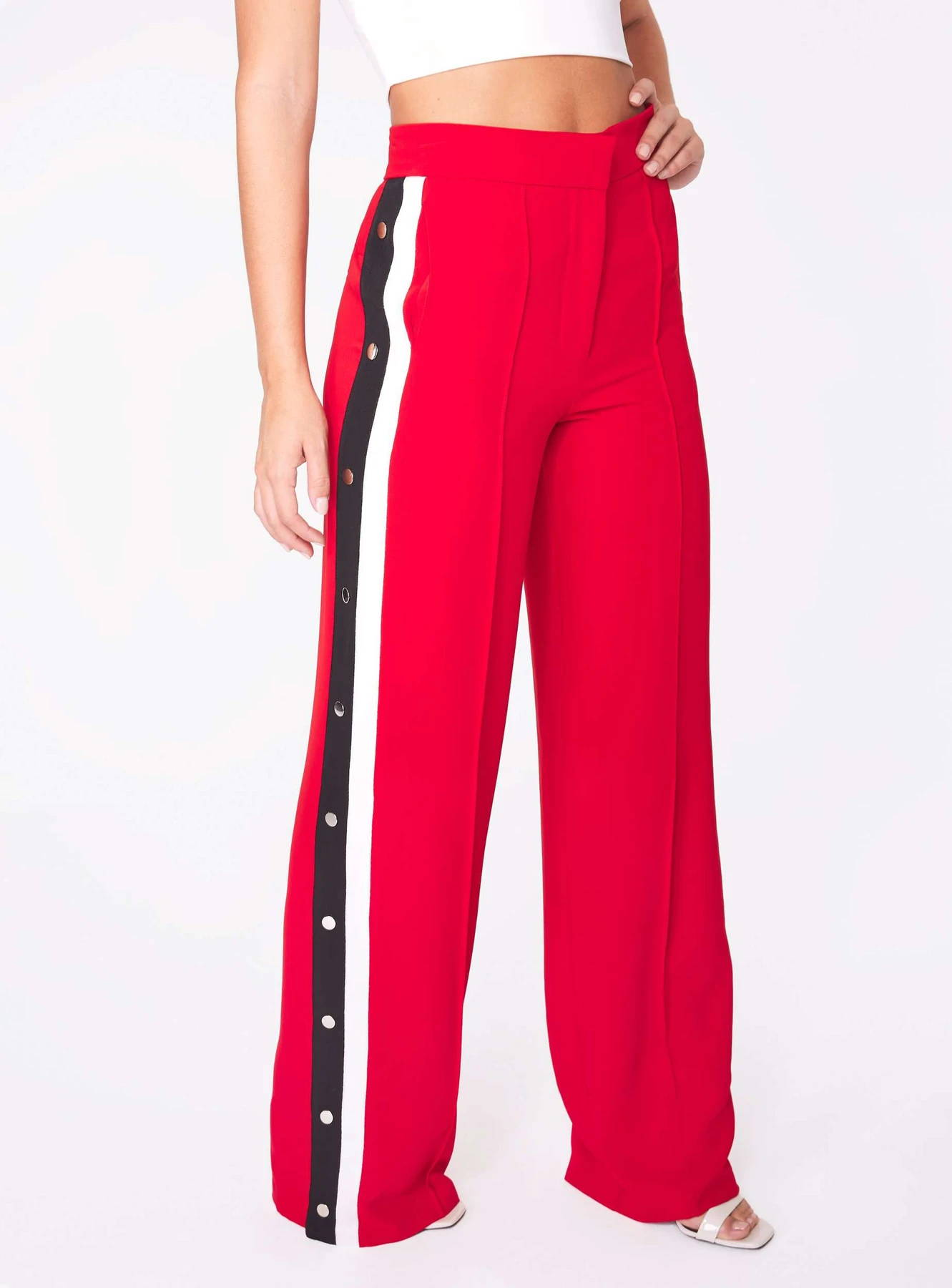 Red High Waisted Relaxed Side Snap Trouser