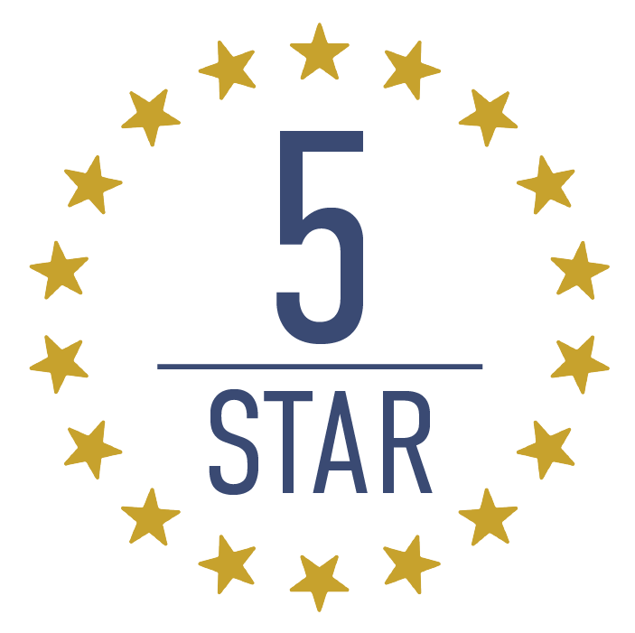 5 star program circle icon
