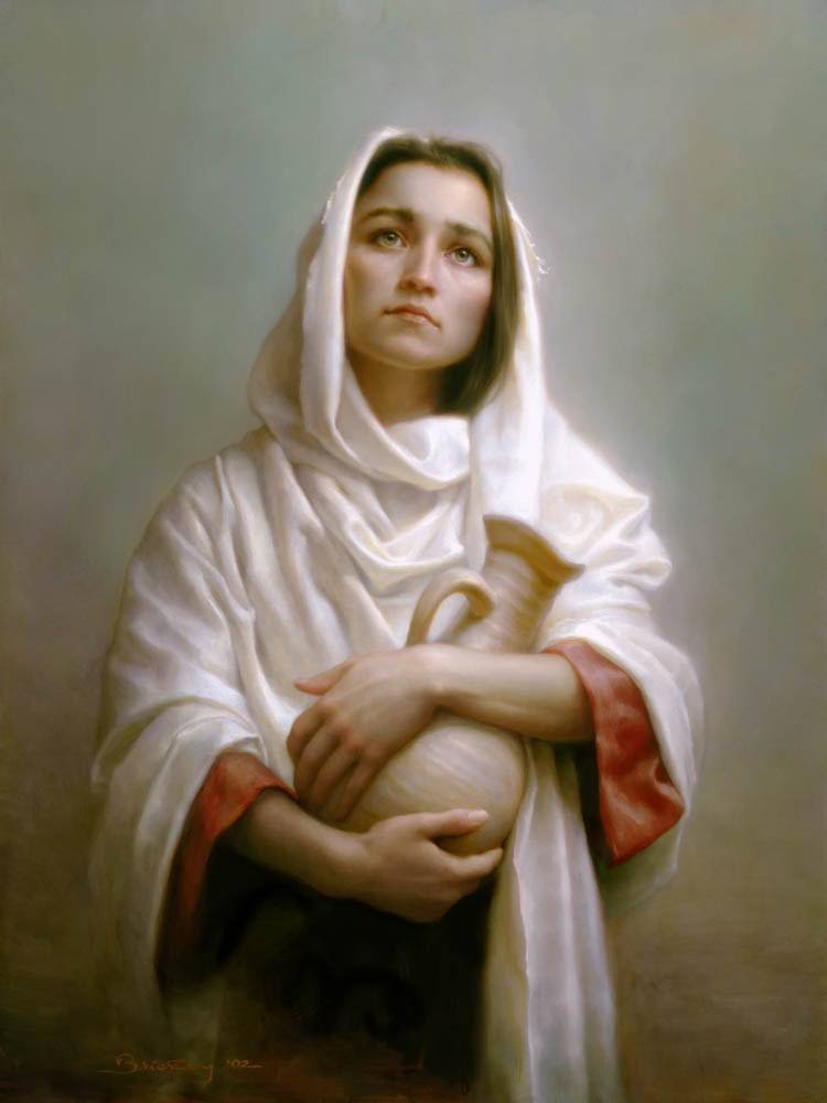 Biblical young woman holds a pitcher and gazes up toward the sky.