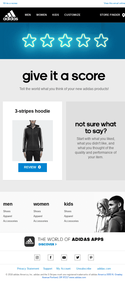Two weeks after her initial purchase, Adidas sends a follow-up message asking the customer to provide feedback about her hoodie.