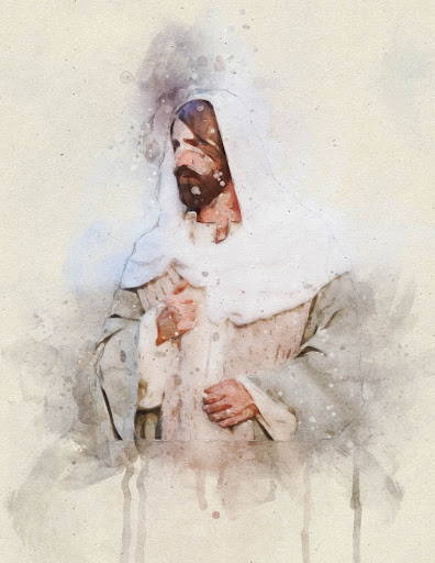 Watercolor painting of Jesus Christ.