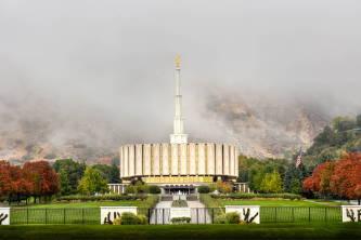 Fog settling around a Provo Utah Temple.