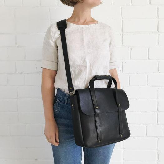 Кожаный портфель малый Black