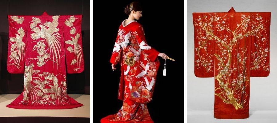 Red Uchikake Kimono Robes