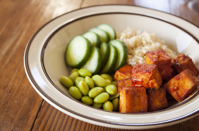 Spicy Crispy Baked Tofu with KPOP Sauce
