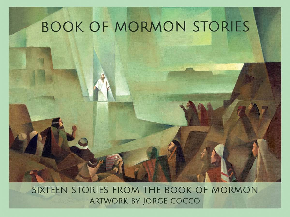 Cover for LDS art notecard pack. Modern depiction of Christ visiting the Nephites.
