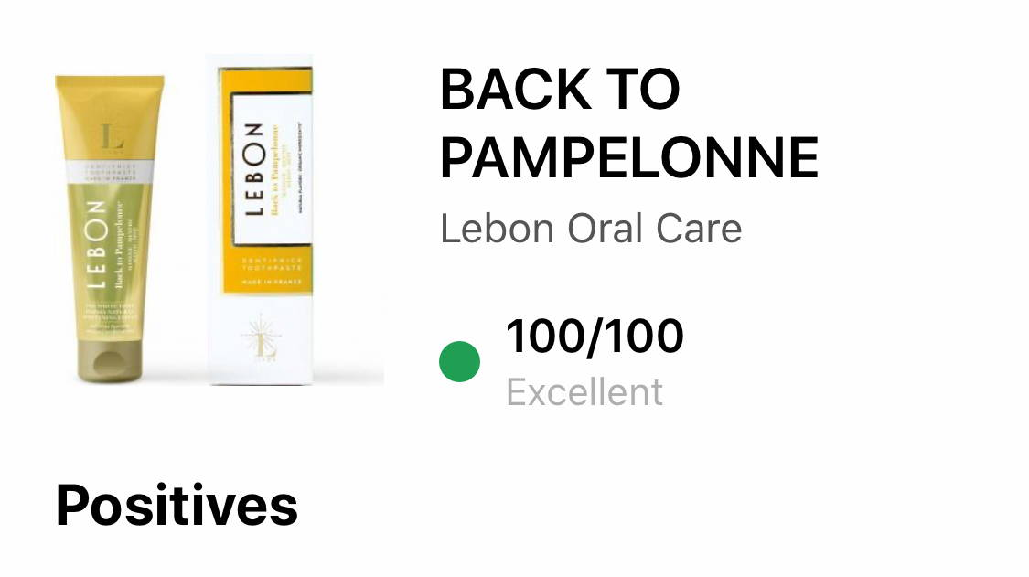 LEBON toothpaste review by YUKA for Back to Pampelonne 100/100