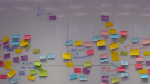 After several hours, the art of the RIA deal began to take colorful shape on Fidelity's whiteboard wall.