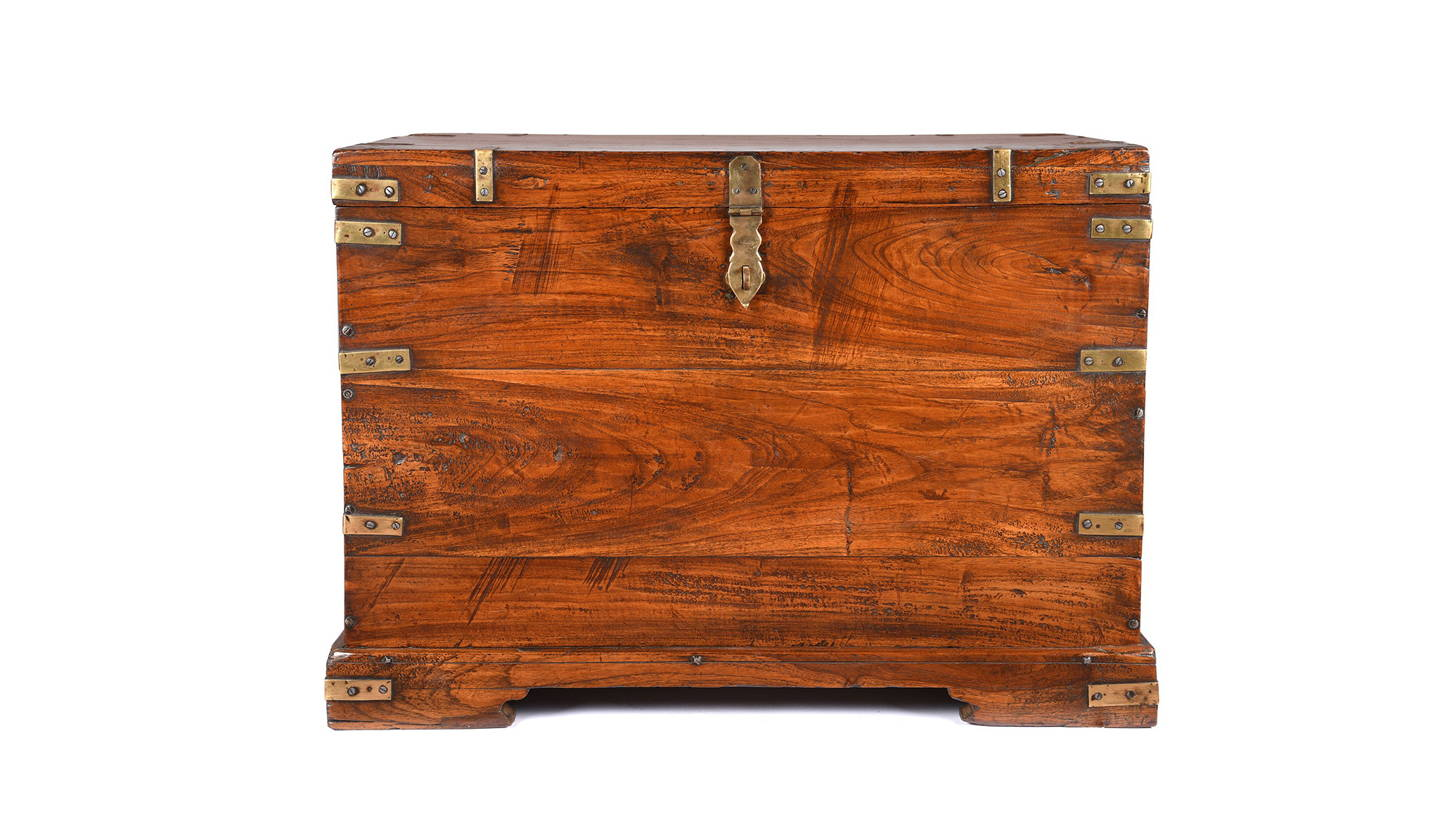 Antique Brass Bound & Teak Indian Military Campaign Chest From Rajasthan -19thC | Indigo Antiques
