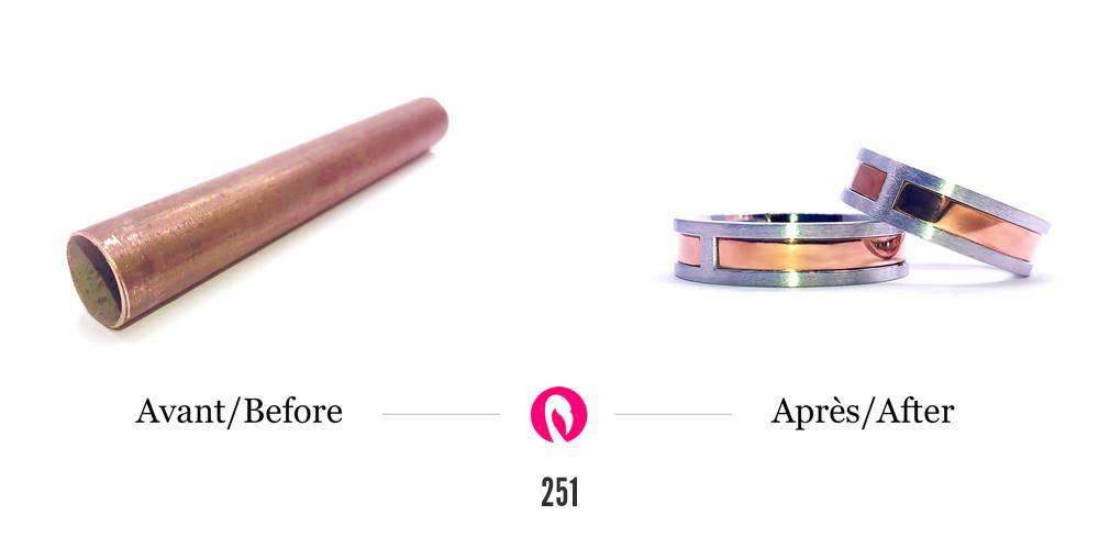 Transformation d'un tuyau de cuivre en deux joncs deux tons pour homme