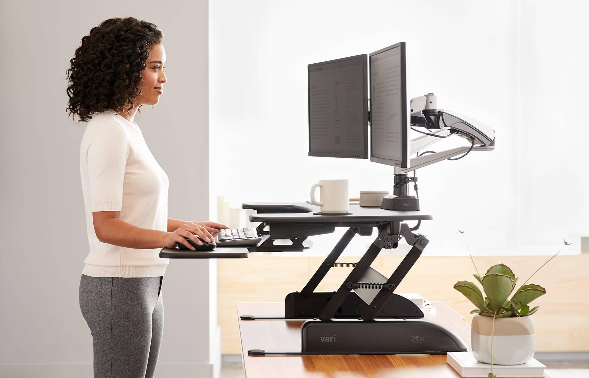 Ergonomic desk set up two monitors