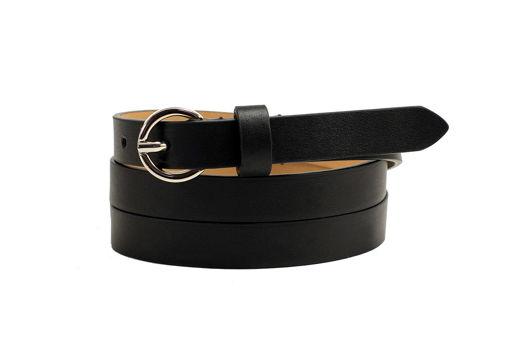 Черный кожаный ремень узкий с круглой пряжкой