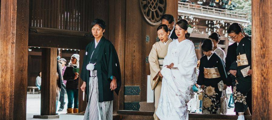 Japanese bridal party wearing traditional Japanese wedding kimono